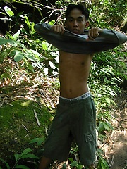 Thick thai boy masturbation in the jungle