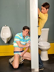 Twinks playing in toilet gloryhole decoration