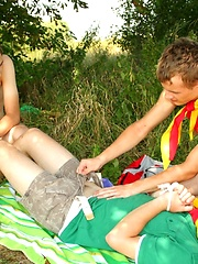 Threesome boy scouts outdoor fucking