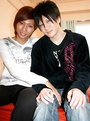 Asian boy Tsuyoshi sucks on Ryo, then they switch