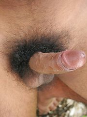 From his lightly fuzzy, toned body, down to that dark bush that surrounds his thick cock