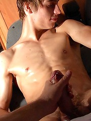 Sweet euro boy gets good handjob from cameraman