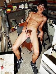 Young boy Codie strokes his cock