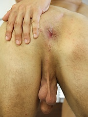 Gorgeous Chris Hollander fingers his tight asshole.