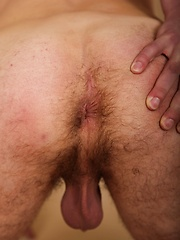 Marshall Kone busts a big nut over his hairy bellybutton.