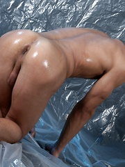 Two Oiled Studs Wrestle, Finger & Fuck, Then Bust Their Nuts!